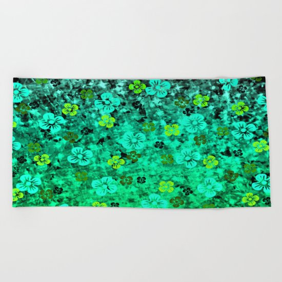 LUCK OF THE IRISH Colorful Emerald Green Ombre St Patricks Day Floral Shamrock Four Leaf Clover Art Beach Towel