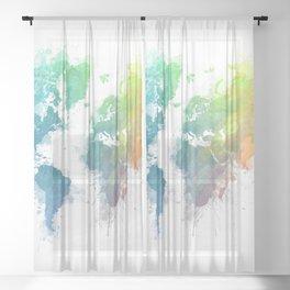World Map splash 1 Sheer Curtain
