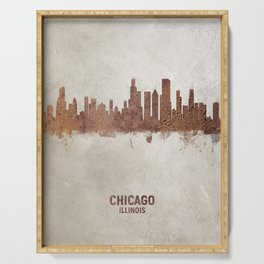 Chicago Illinois Rust Skyline Serving Tray