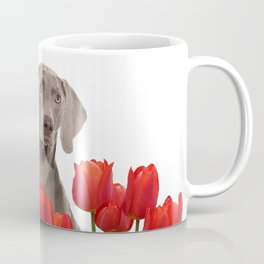 Weimaraner Dog with spring tulips flowers Coffee Mug