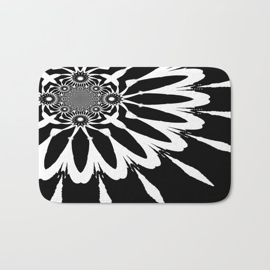 The Modern Flower Black & White Bath Mat