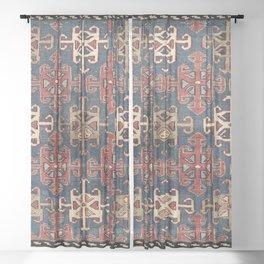 Shahsavan South East Caucasus  Antique Bag Face Print Sheer Curtain