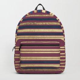Geometric modern navy blue gold burgundy stripes Backpack