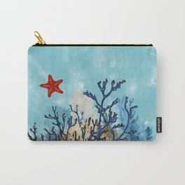 Blue Gemstone Coral and Gold  Carry-All Pouch