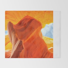 Antelope Canyon with Clouds Throw Blanket