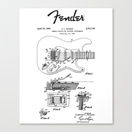 Guitar Tremolo Patent Black Canvas Print