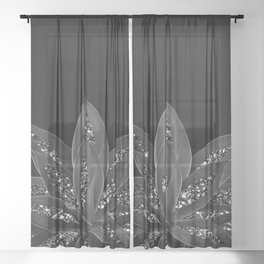 Gray Black Agave with Black Silver Glitter #2 #shiny #tropical #decor #art #society6 Sheer Curtain