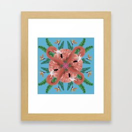 Flamingo Tropical Mandala Framed Art Print