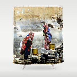 Women Fetching Water, Thula Cistern, Yemen Shower Curtain