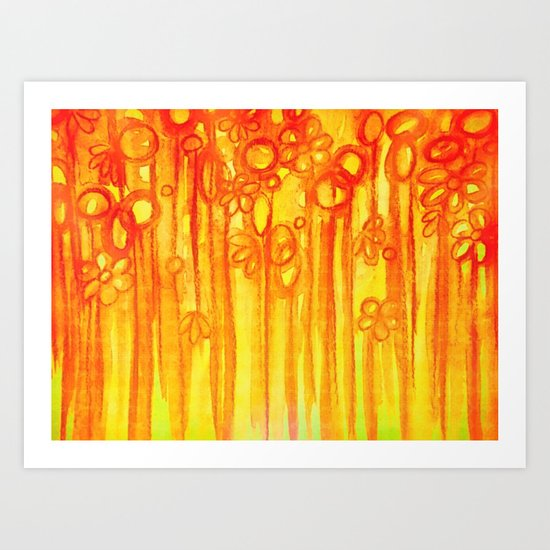 SUMMER SENTIMENTS - Bright Abstract Floral Garden Bold Summer Yellow Red Orange Flowers Painting Art Print