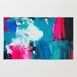 Look on the bright side   neon pink blue brushstrokes abstract acrylic painting Rug