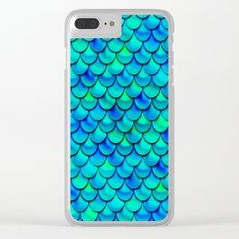 Aqua Blue Scales Clear iPhone Case