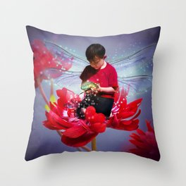 Red Bug Fairy Throw Pillow