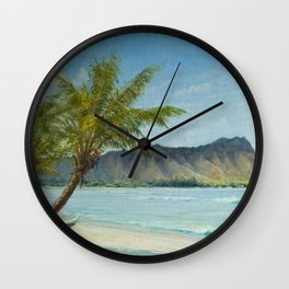 Waikiki Beach at First Sunlight tropical island landscape painting by D. Howard Hitchcock Wall Clock