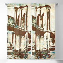 Brooklyn Bridge Vintage Look Abstract Art Blackout Curtain