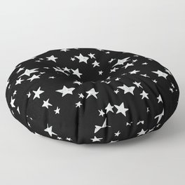 Linocut black and white stars outer space astronauts minimal Floor Pillow