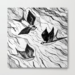 Wire Birds black and white Metal Print