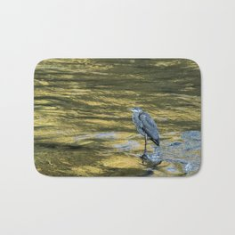 Great Blue Heron on a Golden River Bath Mat
