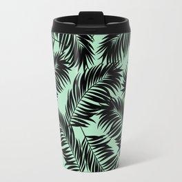 Palm Frond Tropical Décor Leaf Pattern Black on Mint Green Travel Mug