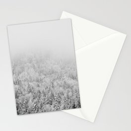black and white mountain woodland print Stationery Cards
