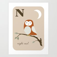 N is for Night Owl Art Print