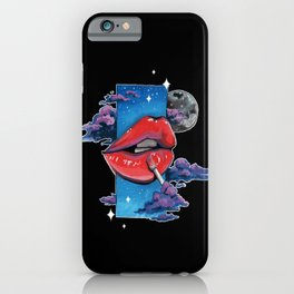 Red lip gloss on black iPhone Case