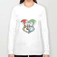 hogwarts Long Sleeve T-shirts featuring Hogwarts Houses by Vagalumie