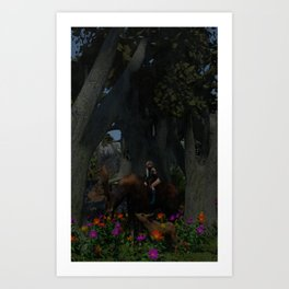 bosque con elfa en arce Art Print