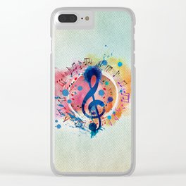 Fun Musical Notes and Treble Clef Paint Splatter Clear iPhone Case