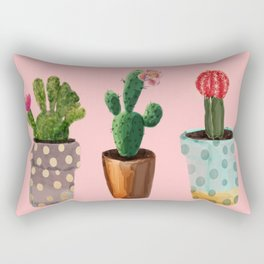 Three Cacti With Flowers On Pink Background Rectangular Pillow