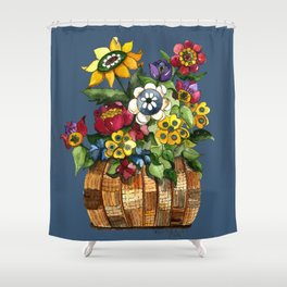 A Basket of Happy Flowers Shower Curtain