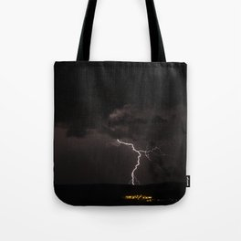 Lighting bolt during an obscure night Tote Bag