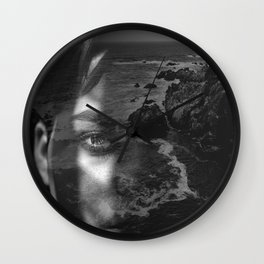 Portrait rock black white Wall Clock