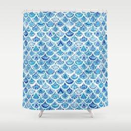 AZTEC MERMAID Tribal Scallop Pattern Shower Curtain