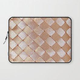Vintage elegant coral faux gold satin weaved pattern Laptop Sleeve