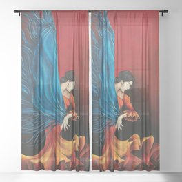 Spanish Flamenco Dancer Sheer Curtain