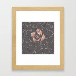 Rosegold  blossom on grey - Pink metal - effect flower Framed Art Print