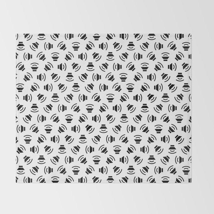 Music On (black on white version) Throw Blanket