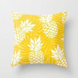 Bright Yellow, Summer, Pineapple Art Throw Pillow