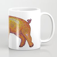 piglet Mugs featuring Patterned Piglet by artworkbyemilie