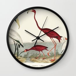a handcolored wood ibis and scarlet flamingo Wall Clock