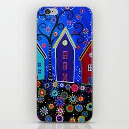 Mexican Pueblo Folk Art Town Painting iPhone Skin
