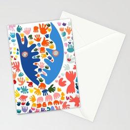 Two Blue Faces Abstract Joyful Pattern Art Decoration Emmanuel Signorino Stationery Cards