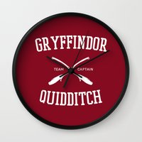gryffindor Wall Clocks featuring Hogwarts Quidditch Team: Gryffindor by IA Apparel
