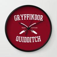 quidditch Wall Clocks featuring Hogwarts Quidditch Team: Gryffindor by IA Apparel