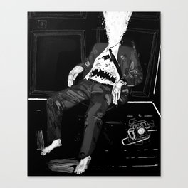 Monster in an office chair with exploded head. 2008. Canvas Print