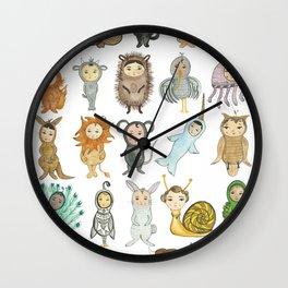 Watercolor Animal Alphabet (No Words) Wall Clock