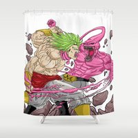 dragonball Shower Curtains featuring Broly V Majin Buu by Kame Nico