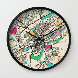 Colorful City Maps: Knoxville, Tennessee Wall Clock
