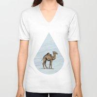 salt water V-neck T-shirts featuring Camel - salt water by Agustin Flowalistik